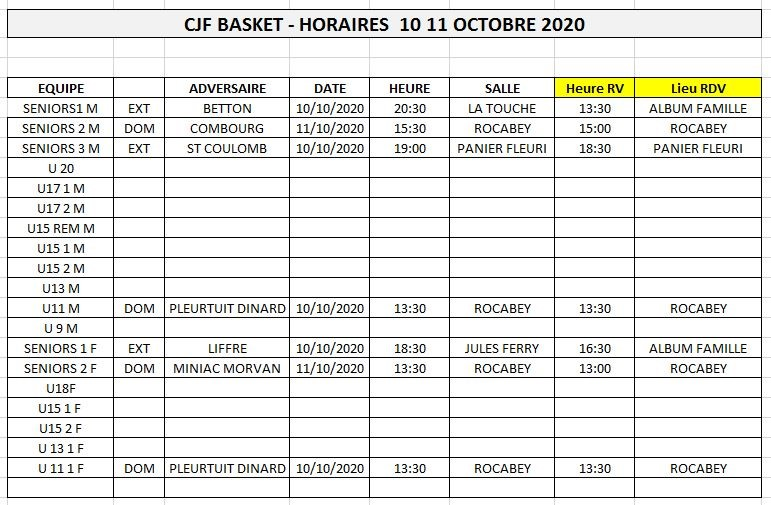 horaires 10 11 octobre